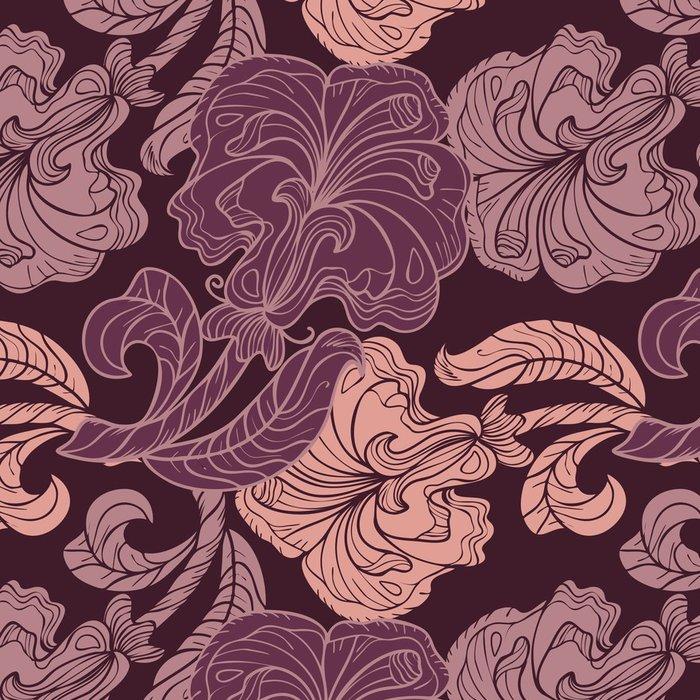 Tapeta Pixerstick Bezešvé vzor růžové a fialové květy - Pozadí