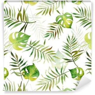 Vinylová Tapeta Bezešvé vzor s akvarel tropických listů.