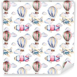 Vinylová Tapeta Bezešvé vzor s balóny, vzducholodě, mraky a letadla v pastelových colors.Watercolor vzduchové láhve krásně zdobené na bílém pozadí a další aircrafts.Perfect pro tapetu