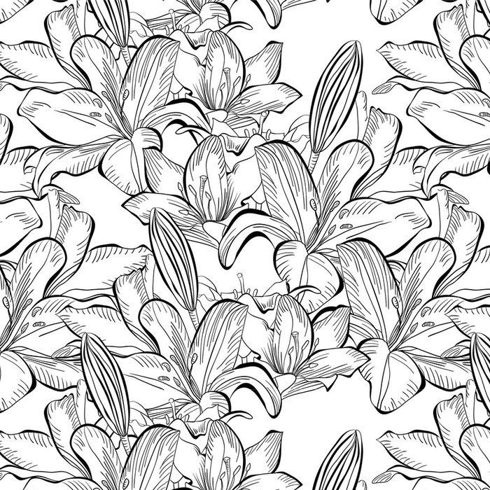 Tapeta Pixerstick Bezešvé vzor s bílou lilií květy - Styly