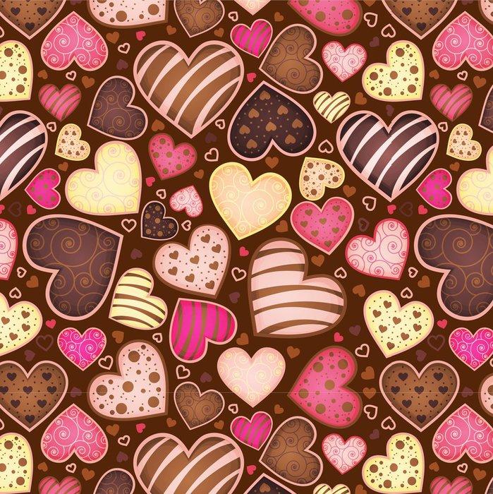 Vinylová Tapeta Bezešvé vzor s čokoláda cukroví ve tvaru srdce - Do kavárny
