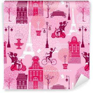 Vinylová Tapeta Bezešvé vzor s dívkami jezdí na skútru a na kole, dům