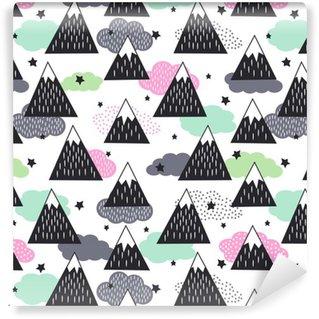 Vinylová Tapeta Bezešvé vzor s geometrickými zasněžené hory, mraky a hvězdy. Grafické příroda ilustrace. Abstraktní pozadí hory.