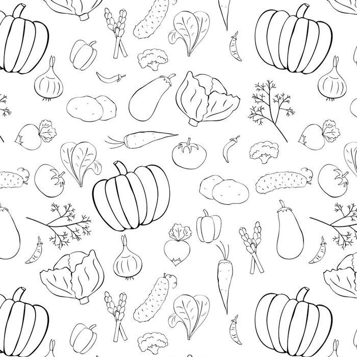 Tapeta Pixerstick Bezešvé vzor s grafickými zeleninou - Jídla