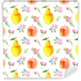 Vinylová Tapeta Bezešvé vzor s jablečným, hrušky a flower.Food picture.Watercolor ruky čerpá illustration.White pozadí.