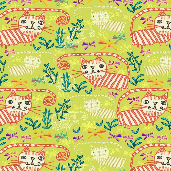 Tapeta Pixerstick Bezešvé vzor s kočkami a motýly - Savci