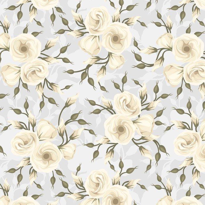 Tapeta Pixerstick Bezešvé vzor s květinami Lisianthus. Vektorové ilustrace. - Pozadí