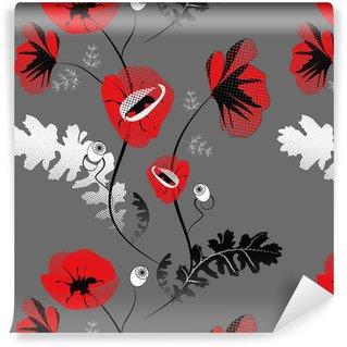 Vinylová Tapeta Bezešvé vzor s květy máku