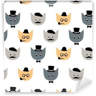 Vinylová Tapeta Bezešvé vzor s legrační kočky s módními brýlemi, knír, motýlek, klobouk, tabáku potrubí, očí pro děti, dovolenou na bílém pozadí. Cute otcové den vektorový obrázek pozadí.