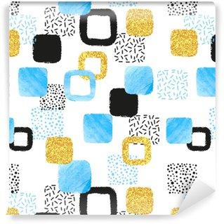 Vinylová Tapeta Bezešvé vzor s modrými, černými a zlatými čtvercemi. vektorové abstraktní pozadí s geometrickými tvary.