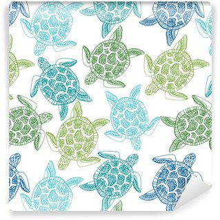 Vinylová Tapeta Bezešvé vzor s mořskými želvy.
