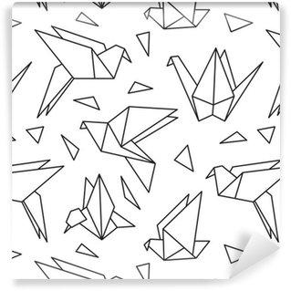 Vinylová Tapeta Bezešvé vzor s origami ptáků. Může být použit pro tapetu plochy nebo rámem pro zavěšení na zeď nebo plakátu, za vzor výplně, textury povrchů, webové stránky pozadí, textilní a další.