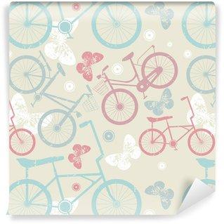 Vinylová Tapeta Bezešvé vzor s retro jízdních kol a roztomilé motýlů