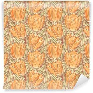 Vinylová Tapeta Bezešvé vzor s tulipány