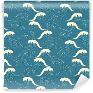Vinylová Tapeta Bezešvé vzor s vlnami