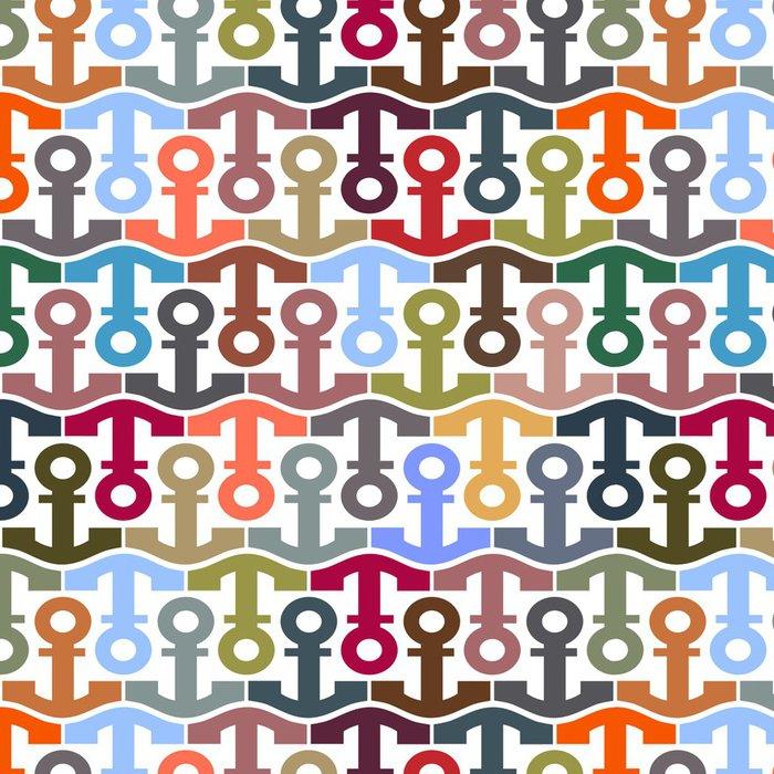 Tapeta Pixerstick Bezešvé vzor se stylizovanými kotvami - Lodě