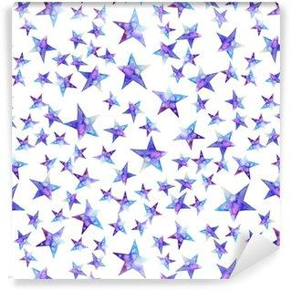 Vinylová Tapeta Bezešvé vzorek barevné akvarel hvězda ikonu. ilustrace na bílém pozadí. modré a fialové. izolovaný. ručně kreslenými