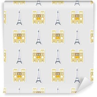 Vinylová Tapeta Bezešvé vzorek s francouzskými ikonami pro váš návrh