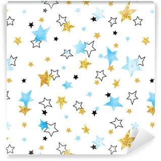 Vinylová Tapeta Bezešvé vzory hvězd. vektorové pozadí s akvarel modré a třpytivé zlaté hvězdy.