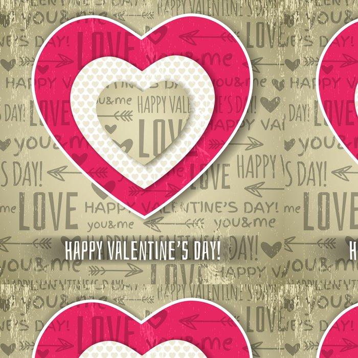 Tapeta Pixerstick Béžové pozadí s červenou valentine srdce a chce textu, vec - Mezinárodní svátky