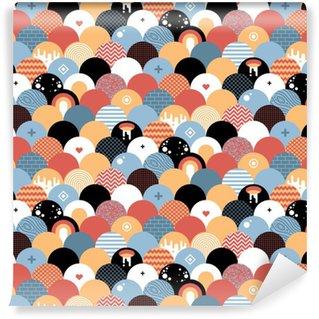 Tapeta Pixerstick Bezproblémová geometrický vzor v plochém stylu. Užitečné pro balení, tapety a textilu.