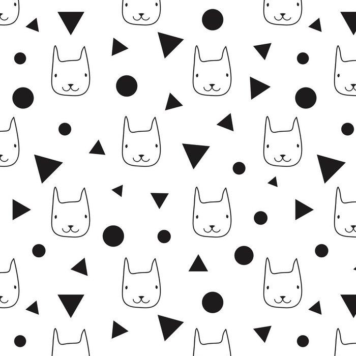 Tapeta Pixerstick Bezproblémové vzor vektor se zvířaty. Tapety s karikatura kočičími hlavami. - Zvířata