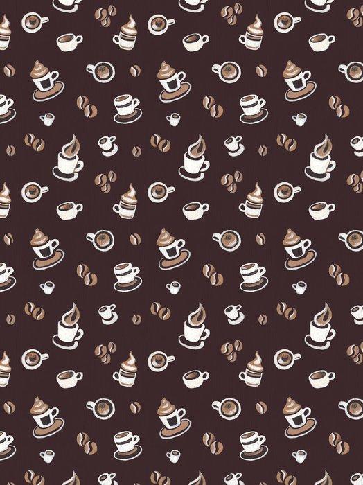Tapeta Pixerstick Bezproblémové vzorek s kávová zrna a poháry - Jídla