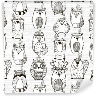 Vinylová Tapeta Bezproblémové vzorek s kmenovými zvířaty - ilustrace