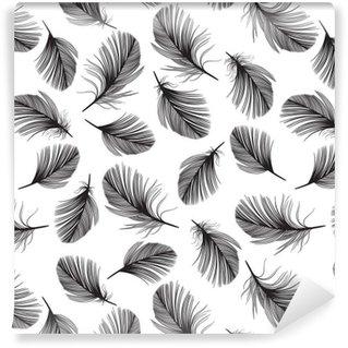 Vinylová Tapeta Bezproblémové vzorek s ručně kreslených peří.