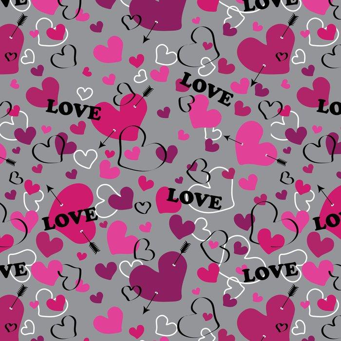 Tapeta Pixerstick Bezproblémové vzorek s srdce šípem a se slovem lásky. Vektor - Pozadí