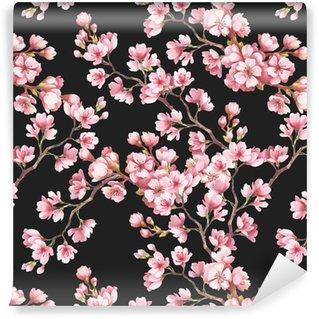 Vinylová Tapeta Bezproblémové vzorek s třešňové květy. Akvarel ilustrace.