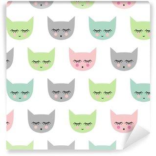 Vinylová Tapeta Bezproblémové vzorek s úsměvem spací kočky pro děti prázdniny. Roztomilé miminko světlé vektor pozadí. Dítě styl kreslení kočička.