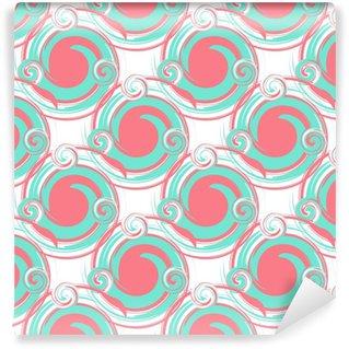 Vinylová Tapeta Bezproblémový abstraktní vzor z velkých kulatých prvků tyrkysové a růžové. moderní vzorek pro tapety nebo textil.