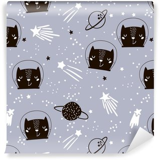 Vinylová Tapeta Bezproblémový dětinský vzor s astronautem roztomilých koček. kreativní pozadí školky. perfektní pro děti design, tkanina, balení, tapety, textil, oděvy