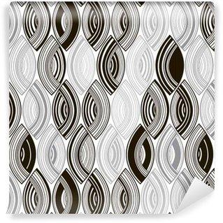Vinylová Tapeta Bezproblémový monochromatický vzor s pruhovanými abstraktními listy.