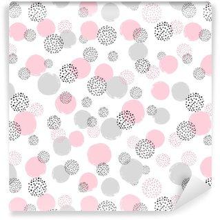 Vinylová Tapeta Bezproblémový tečkovaný vzor s růžovými a šedými kruhy. vektorové abstraktní pozadí s kulatými tvary