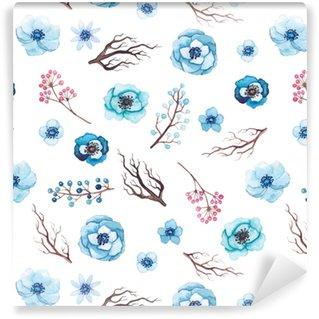 Vinylová Tapeta Bezproblémový vzor akvarelu modré květy, větve stromů a bobule