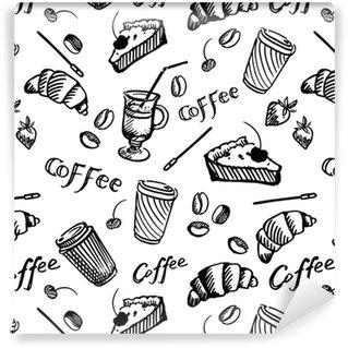 Vinylová Tapeta Bezproblémový vzor kávy