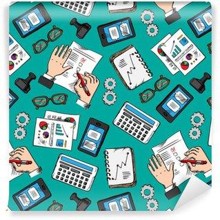 Vinylová Tapeta Bezproblémový vzor kreslený obchodní ikony