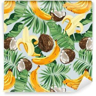 Vinylová Tapeta Bezproblémový vzor s banánovými listy, banány a kokosovými ořechy. vektorové ilustrace.