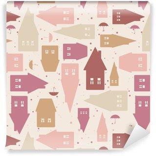 Vinylová Tapeta Bezproblémový vzor s domy a deštníky