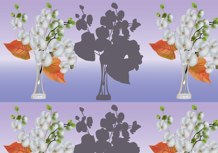 Tapeta Pixerstick Bílá orchidej pobočky ve váze - Květiny