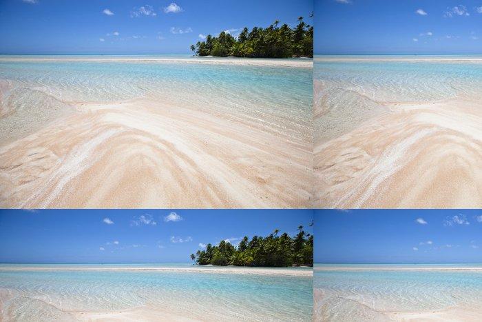 Tapeta Pixerstick Bílé a růžové písečná pláž s lagunou modrým - Témata