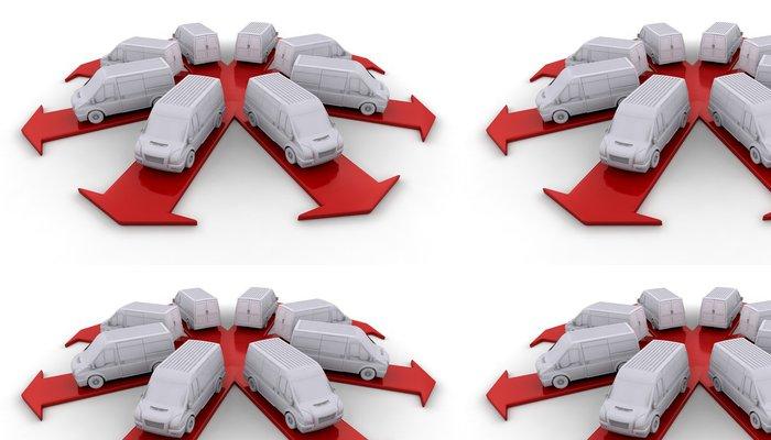 Tapeta Pixerstick Bílé dodávky na šipky - Těžký průmysl