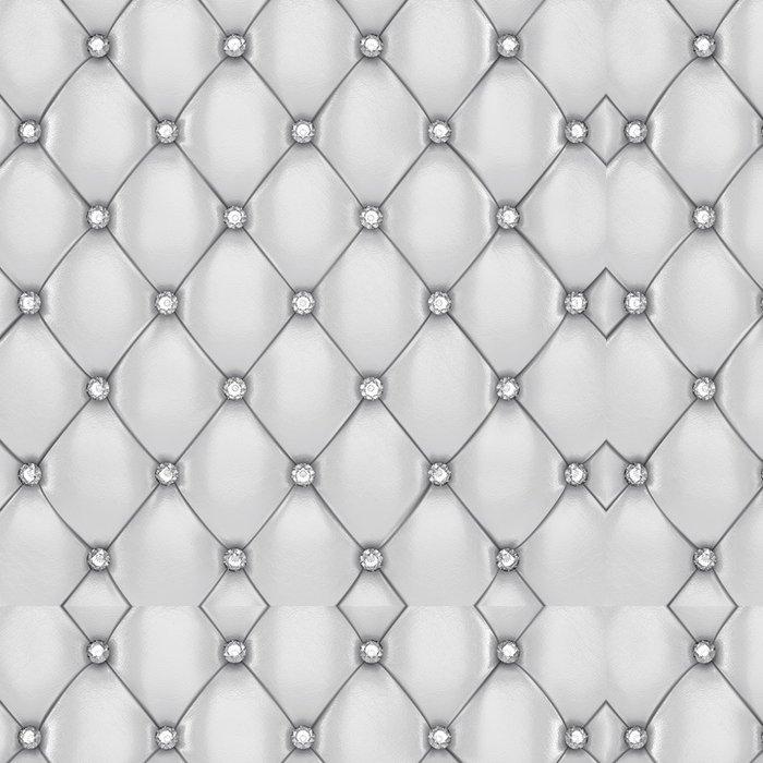 Vinylová Tapeta Bílé kožené čalounění vzor s diamanty - Móda