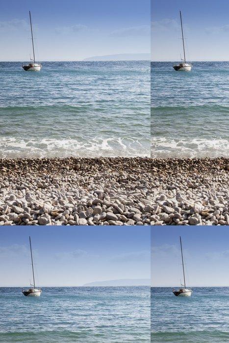 Tapeta Pixerstick Bílé písečné pláže a plachetnice - Lodě