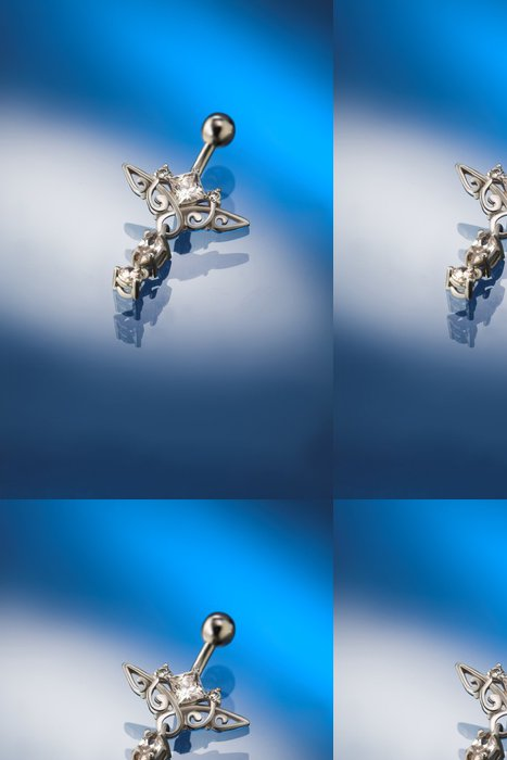 Tapeta Pixerstick Bílé zlato piercing set s diamanty - Móda