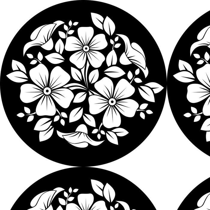 Tapeta Pixerstick Bílý květ ornament na černém pozadí. Vektorové ilustrace - Květiny