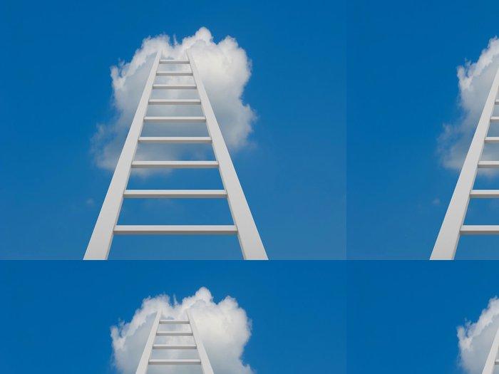Tapeta Pixerstick Bílý žebřík vedoucí do mraků - Prvky podnikání