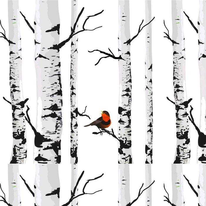 Vinylová Tapeta Bird of břízy, vektorové kreslení s editovatelných prvků. - Obchod